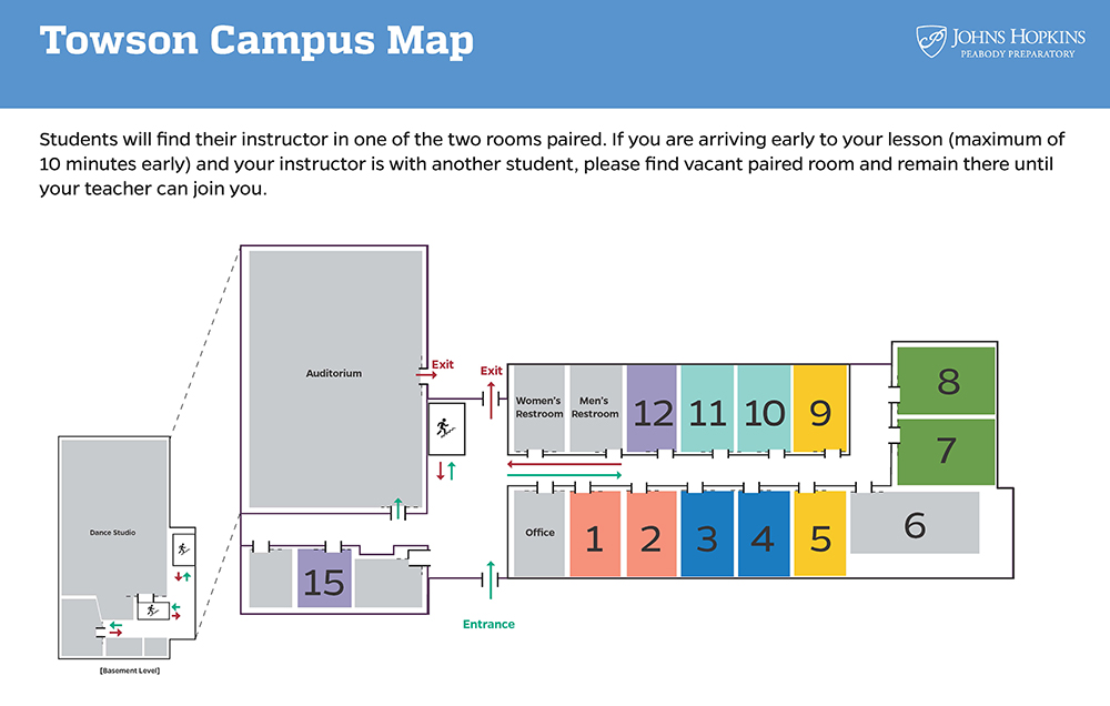 A map of the Towson campus